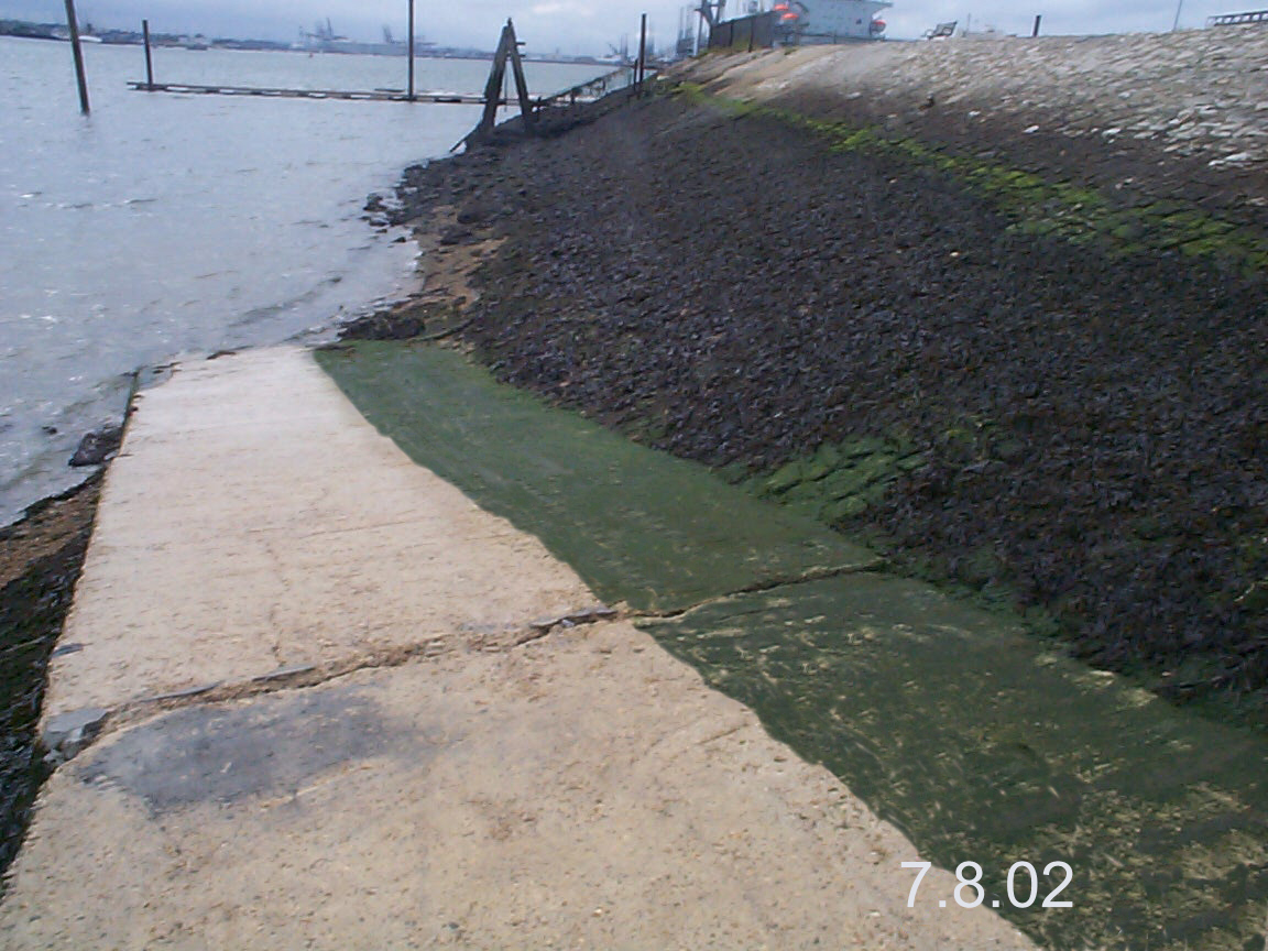 slipway treated with clearway to remove algae
